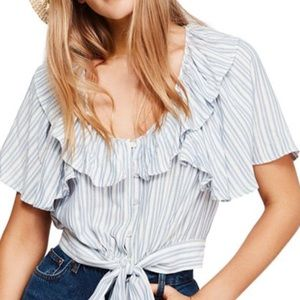 Free People Rosemary tie front cropped top